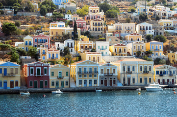 Colorful houses Simi island in Greece.