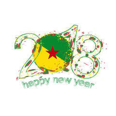 2018 Happy New Year French Guiana grunge vector template for greeting card and other.