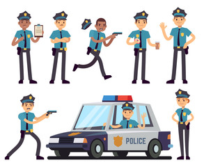 Cartoon policewoman and policeman characters in police uniform vector set
