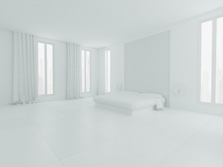 White  bedroom interior with bed and windows