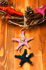 Christmas decoration with colorful toys. Christmas decor concept.
