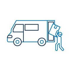 logistic delivery worker box loader truck van vector illustration