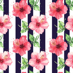 Watercolor pattern red hibiscus flowers, striped seamless black pattern