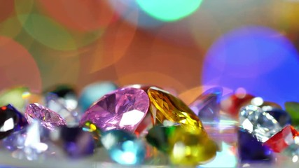 Wall Mural - gemstones are showing on rotating platform. new year 2018 on the back of gemstones. bokeh of colorful christmas shine on the end.