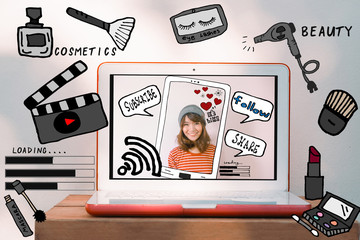 Laptop computer and asian woman with beauty and cosmetic illustration doodles. Beauty vlogger and Modern digital lifestyle concept for digital marketing and influencer social media platform marketing