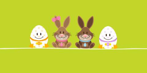 2 Easter Bunnies Girl/Boy & 2 Eggs Green