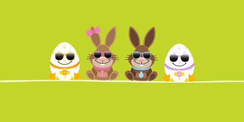 2 Easter Bunnies Girl/Boy & 2 Eggs Sunglasses Green