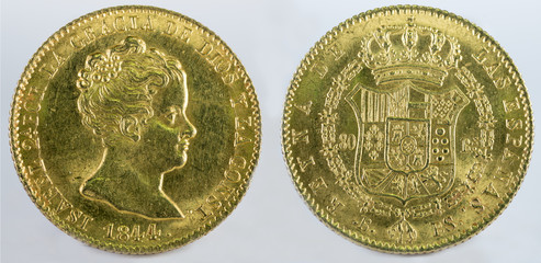 Ancient Spanish gold coin of Queen Isabel II. With a value of 80 reales and minted in Barcelona. 1844.