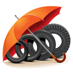 Vector Car Tires with Umbrella