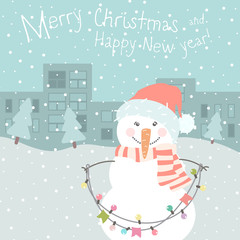 Winter card with cartoon cute snowman with a multi-colored garland in pastel colors. Funny  snowman in childish style. Perfect for winter invitations, New Year greeting cards.