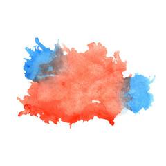 Watercolor red and blue stain with blots, paper texture, isolated on a white background