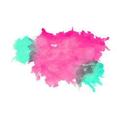 Watercolor crimson and mint stain with blots, paper texture, isolated on a white background