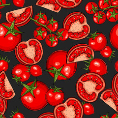 Seamless hand drawn pattern with tomatoes, slices, halves and cherry tomatoes. Natural background for textiles, banner, wrapping paper and other and designs. Vector illustration