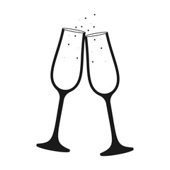 Champagne glass vector icon