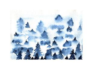 Blue foggy spruce forest landscape watercolor illustration