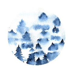 Blue foggy spruce forest landscape watercolor round illustration
