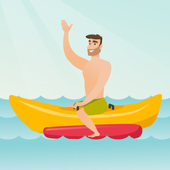 Young happy caucasian white man riding a banana boat and waving hand. Cheerful man having fun on a banana boat in the sea. Man enjoying summer vacation. Vector cartoon illustration. Square layout.