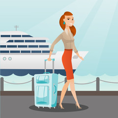 Young caucasian white passenger walking on the background of cruise liner. Smiling happy passenger with a suitcase goes to a cruise liner along the station. Vector cartoon illustration. Square layout.