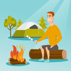 Caucasian white man roasting marshmallows over campfire on the background of camping site with a tent. Man sitting near campfire and roasting marshmallows. Vector cartoon illustration. Square layout.
