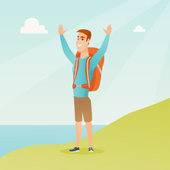 Young caucasian white tourist with a backpack standing on the cliff with raised hands and enjoying the scenery. Happy tourist hiking in the mountains. Vector cartoon illustration. Square layout.