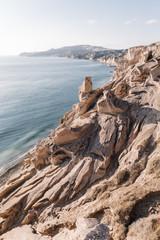 Famous Vlichada Beach with volcanic sand in Santorini, Greece