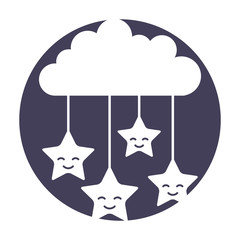 cloud sky with stars vector illustration design