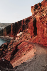 Famous Red Beach with volcanic sand in Santorini, Greece