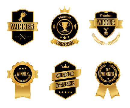 Elegant premium winner golden and black labels. Banners element vintage design. Vector illustration