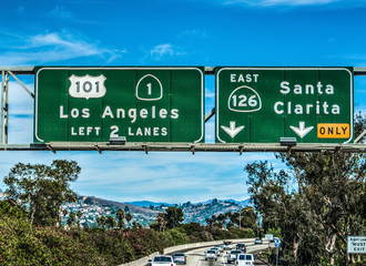Los Angeles exit sign on 101 freeway southbound