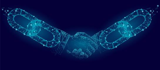 Blockchain technology agreement handshake business concept low poly. Polygonal point line geometric design. Hands chain link internet hyperlink connection blue vector illustration