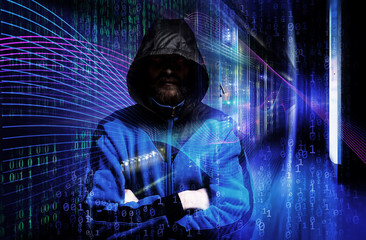 Man in hoodie shirt is hacker. Computer security concept. abstract image of Light traces. visualization hacker attacks on information data server
