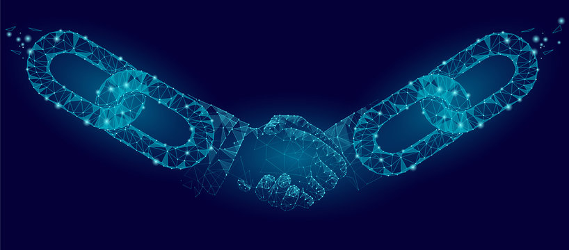Blockchain technology agreement handshake business concept low poly. Polygonal point line geometric design. Hands chain link internet hyperlink connection blue vector illustration