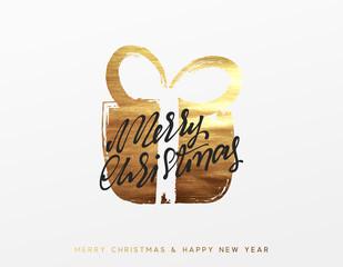 Gold Christmas greeting card, Golden Xmas surprise gift box.