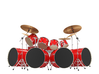 Large, cool, red drum kit. Isolated