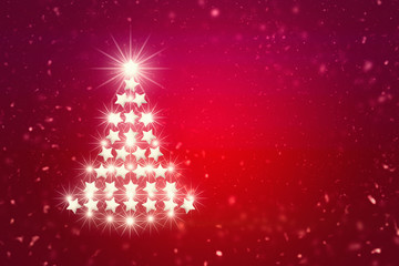 White Christmas tree. Red background.