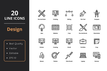 20 Ultra high quality thin line icons about design. For user interfaces and web