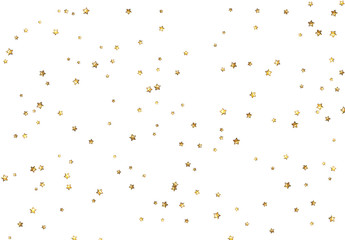 Vector magic gold stars on white background.