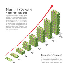 Market growth vector background with chart and dollar currency bills. Isometric banking and finance concept