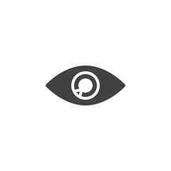 Eye icon vector, filled flat sign, solid pictogram isolated on white. Vision symbol, logo illustration.