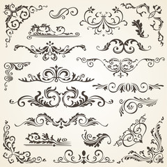 set of Swirl Elements for design. Calligraphic page decoration, Labels, banners, antique and baroque Frames floral ornaments. Old paper