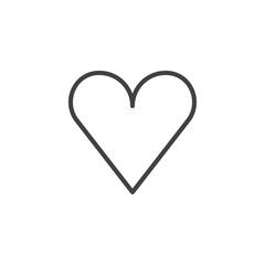 Heart line icon, outline vector sign, linear style pictogram isolated on white. Favorite, love symbol, logo illustration. Editable stroke