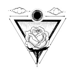sketch of a beautiful rose flower and triangle on a white background. illustration hand drawing line art. symbol of love. tattoo design.