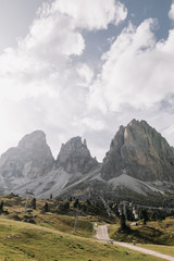 Scenic view of rocky mountainscape at Sella Pass, Dolomites, Italy