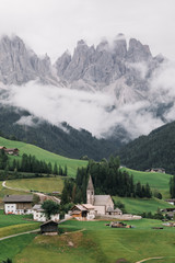 Daytime view of Santa Maddalena town in Dolomite mountains, Italy