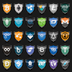 Black shields with cryptocurrency symbols. Icon set.