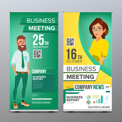 Roll Up Display Vector. Vertical Poster Template Layout. Businessman And Business Woman. Tech, Science. For Business Meeting. Advertising Concept. Green, Yellow. Business Cartoon Illustration