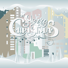 Merry Christmas words, written by hand, city snow-covered landscape, ate.