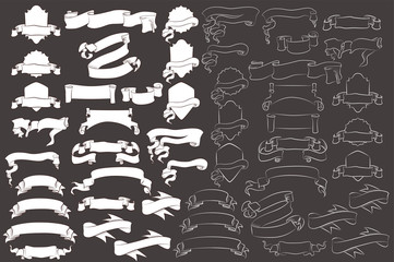 Black and white ribbon banners set. Beautiful blank for decoration graphic. Old vintage style. Template collection labels Vector illustration