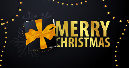 Marry Christmas and Happy New Year banner on dark background. Vector illustration.