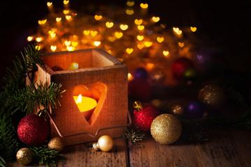 Christmas lantern with heart shaped bokeh effect